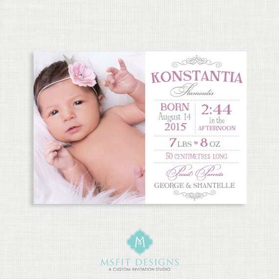 Baby Birth Announcment - Printable Annoucement Cards - Birth Announcement