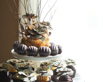 Rustic Wedding Cake + Cupcake Toppers - Option to Lease