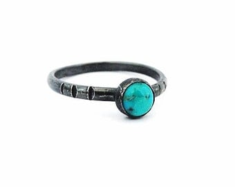 Handmade Oxidised Sterling Silver and Turquoise Skinny Stacking Ring