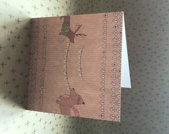 Dachshund Sausage Dog Christmas Card Merry Christmas Hearts
