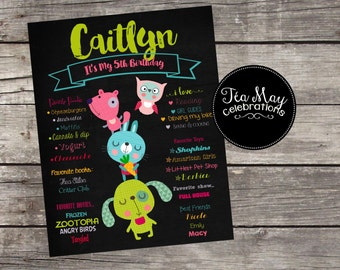 Custom Critters/Animal Tower *Any Age* Chalkboard Poster