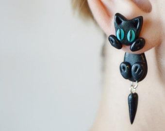 halloween ear plug cat ear tunnel gauged earring  Body Jewelry Gauge & Plug Earrings unusual ear tunnel gift for her steel black cat plugs