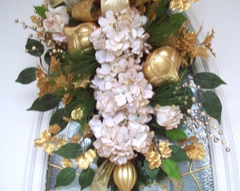 Winter Swag, Ivory Gold Swag, Holiday Wreath, Hydrangea  Swag, Luxury High End Swag, XXL Swag, Wreath Alternative