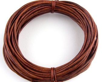 Brown Distressed Red Round Leather Cord 2.0mm 25 meters (27 yards)