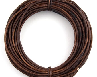 Brown Natural Dye Distressed Round Leather Cord 1.5mm - 10 Feet