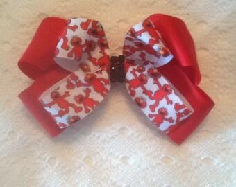 Handmade Red Elmo Hair Bow