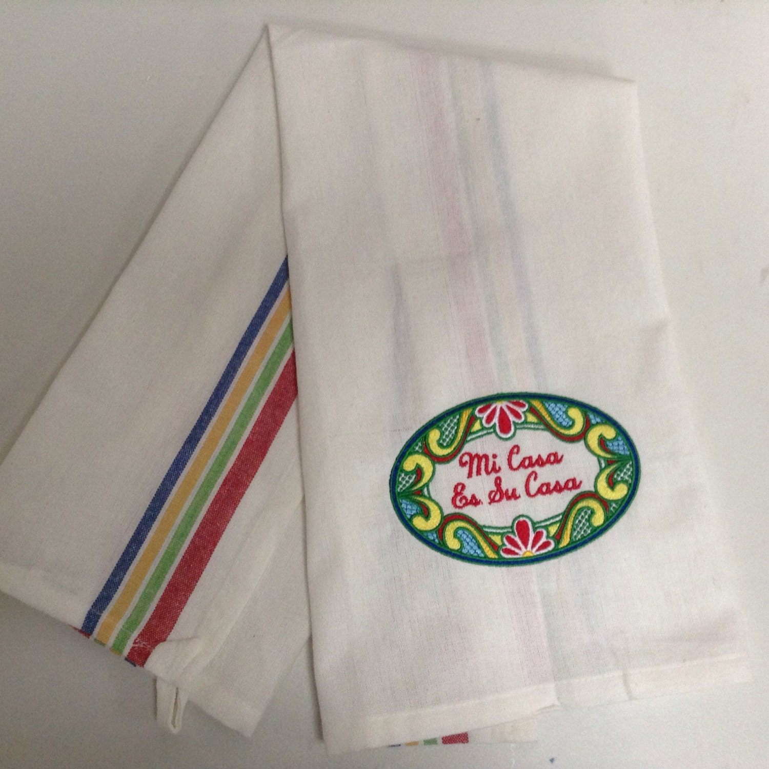 Mexican Art Kitchen Tea Towel Embroidered