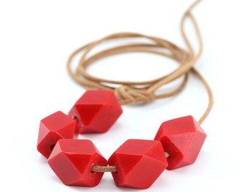 Classic Rich Red Petite Geo Bead Resin Necklace. Small Faceted Statement Beads on Natural Leather Cord. Ready to Ship. Australian Made