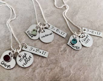 Set of Personalized bridal jewelry for bridesmaid maid of honor flower girl bride bridal petty gifts hand stamped custom with wedding date
