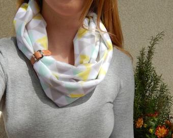 Leather strapped geo-scarf infinity, fall, warm, minimalist, modern, geometric, neon, pastel