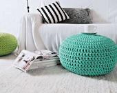 Aqua Turquoise Nursery Footstool Ottoman Pouf - Tiffany Nursery Decor-Furniture Crochet Floor Cushions -Kids Knit Bean Bag Chair-Baby Shower