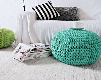 Aquamarine Pouf Ottoman-Aqua Foot Stool Pouf-Crochet Floor Pillow-Tiffany Nursery Decor-Knit Ottoman Pouf-Kids Furniture-Crochet Bean Bag