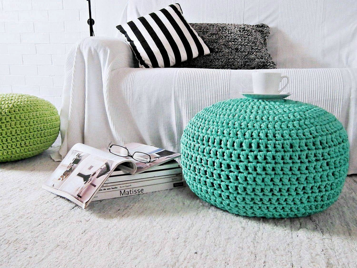 How to make bean bag chairs - Aqua Turquoise Pouf Ottoman Tiffany Nursery Decor Foot Stool Round Pouf Kids Furniture Crochet Pouf Floor Cushion Bean Bag Chair Knit Pouf