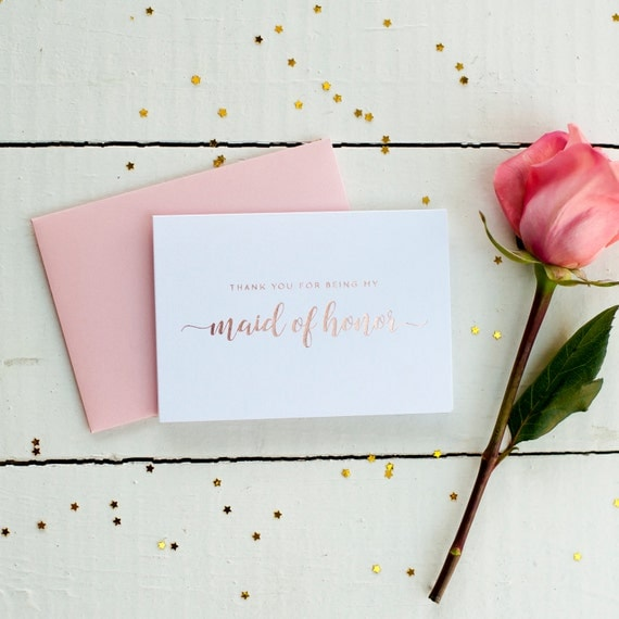 Rose Gold Foil Thank You For Being My Maid of Honor card bridal party gifts wedding thank you gift house party will you be my maid of honor