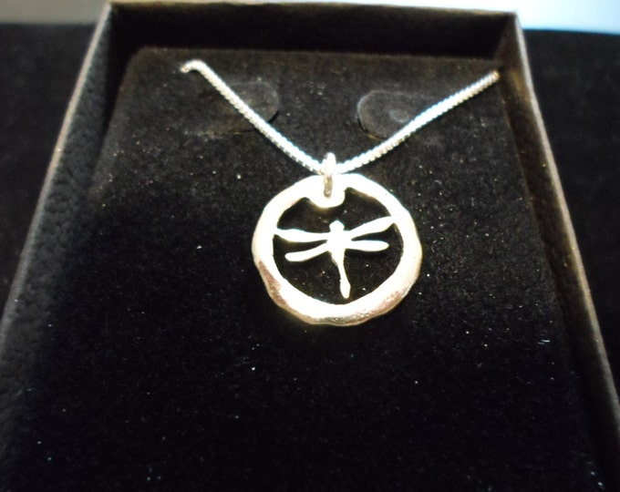 melted mini dragonfly necklace w/sterling silver chain