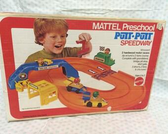 Mattel Preschool, Putt Putt Speedway, Race Cars, Race Track, Mattel 1970s, Vintage Toys, Mattel Speedway, Preschool Toys, Fun Racing Toy