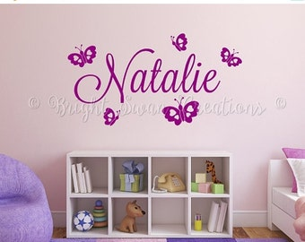SAVE 50% ON SALE - Personalized name decal, butterfly wall decal, wall decor, nursery decor, girls wall decor