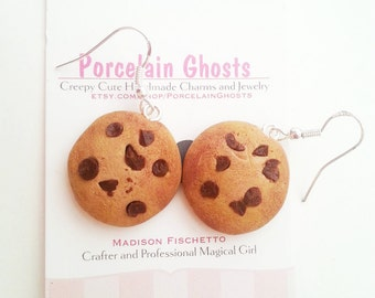 Miniature Chocolate Chip Cookie Polymer Clay Earrings, Miniature Food Earrings, Cookie Earrings