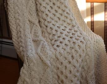 Irish Fisherman-Inspired Hand Knit Throw Blanket - MADE TO ORDER