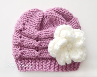 Cable Newborn Hat, Baby Girl Hat, Mauve Pink Baby Hat, Knit Baby Girl Hat, Baby Hats Girls, Knit Baby Girl Beanie, Cable Baby Hats, Newborn