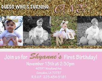 Baby Girl Birthday Invitation *Digital*