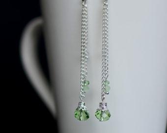Long Dangle Earrings, Silver Earrings, Bridesmaid Gift, Long Crystal Earrings, Green Crystal Earrings, Gift for Her, Crystal Drop Earrings