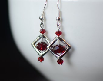 Red Earrings, Silver Dangle Earrings, Swarovski Earrings, Bridesmaid Gift, Geometric Earrings, Gift for Her, Little Earrings