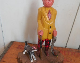 SALE Original Folk Art Hand Carved Hunter...Wood