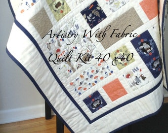 FOXTAIL FOREST Quilt KIT 40x40--Navy fern coral stone soft white--woodland animals theme