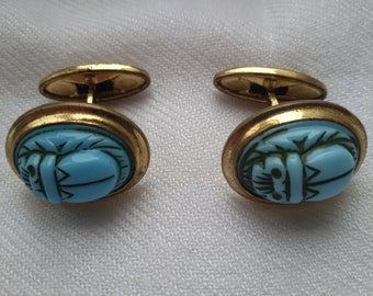 Vintage cufflink 1970s - light blue scrabble - men - women - accessories