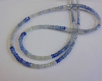 1/2 strand Rare to get Natural Blue Sapphire shaded from Srilanka faceted rondelle beads size 3-3.5mm  GW511