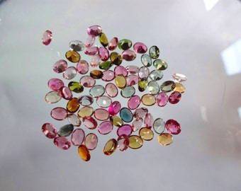 75-pc lot Natural AAAA quality Multi Tourmaline cut stone oval shape app pieces eye clean size 4X5mm GW952