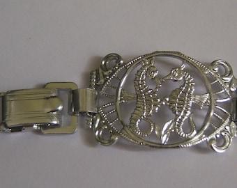Romantic Tropical Bracelet. Light Aluminum. Shiny Silver Tone.