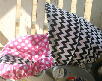black and white chevron hood cover and pink polka dots with black and white chevron seat cover