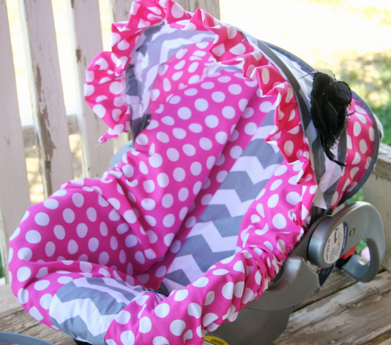 Grey And White Chevron And Pink Polka Dots Car Seat Cover And