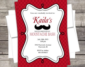 Moustache Bash Mustache Invitation Customized for your Birthday Party Baby Shower