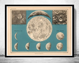 Movements and Phases of the Moon Map 1869