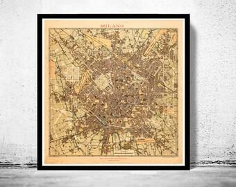 Old Map of Milan Milano 1910  Italy