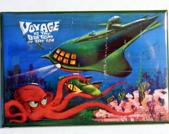 "VOYAGE to the BOTTOM of the SEA Metal Lunchbox 2"" x 3"" Fridge Magnet Art Vintage Tv Show"