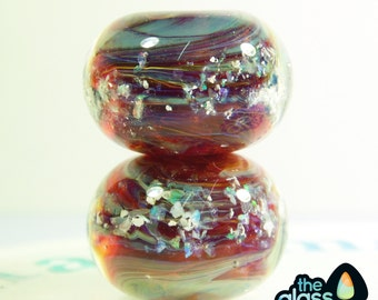 Handmade Borosilicate Glass Bead Pair