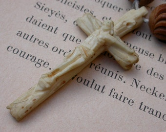 French antique hand garved horn beads rosary carved bone crycifix rosary