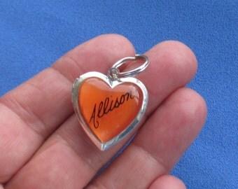 Heart Shaped  Name Allison Orange Cabochon Locket