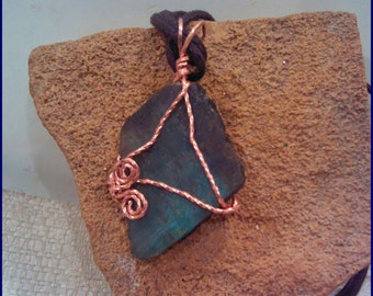 Labradorite  Copper Wire Wrap Pendant PW147