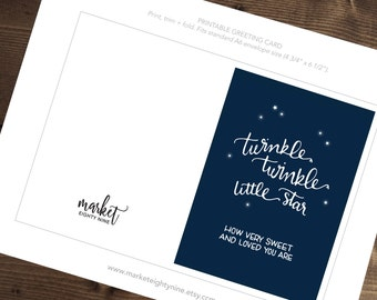 Baby Card - INSTANT DOWNLOAD | Twinkle Twinkle Little Star Greeting Card  |  Typography Card