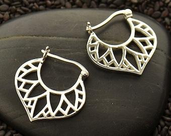 Sterling Silver Egyptian Hoop Earrings with Inset Lotus Petal Design