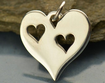 Silver Plated Bronze Heart with Two Heart Cutouts