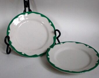 Two Vintage Buffalo China Restaurant Ware Salad Plates/ Green Crest