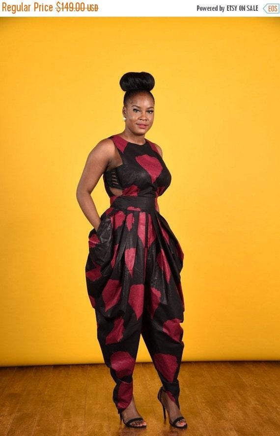 SUMMER SALE Victoria  Harem Jumpsuit- African print clothing