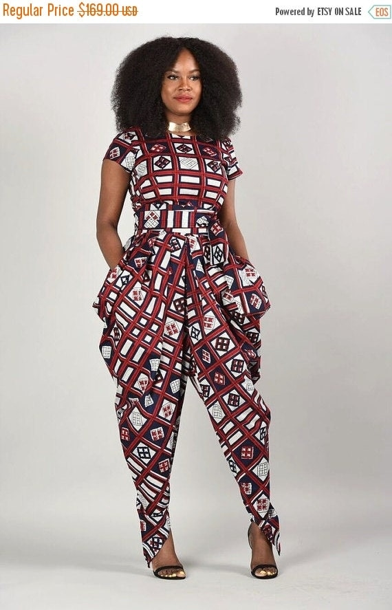 SUMMER SALE Emem Harem Jumpsuit- African print clothing