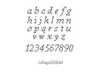 Cross stitch font pattern alphabet ABC font Times new romans, PDF Instant download.